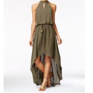 Olive Green High-Low Maxi Dress